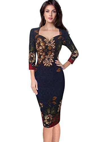 VfEmage Womens Elegant Flower Print Casual Party Cocktail Bodycon Dress 8361 Blu 16