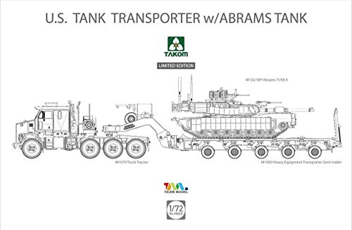Tucows 1/72 United States Army M1070 and M1000 70 tons tank transport vehicles w/D9R bulldozer model car - Bulldozer Model