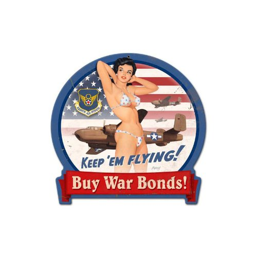 (B-25 War Bonds Vintage Metal Sign PinUp Girl USAF Air Force Military 16X15NotTin)