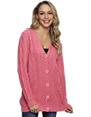 Lynz Pure Women's Cardigan Sweaters Button Down Knitwear Oversized Cable Knit Outerwear