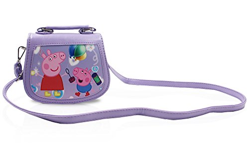 Finex Purple Peppa Pig Premium PU Leather Little Handbag Purse for kids toddlers preschoolers girls boys