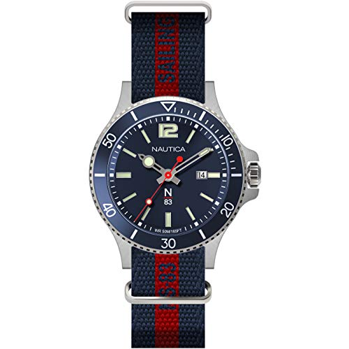 Nautica N83 Men's NAPABS901 Accra Beach Blue/Red Fabric Slip-Thru Strap Watch ()