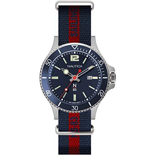 Nautica N83 Men's NAPABS901 Accra Beach Blue/Red Fabric Slip-Thru Strap Watch