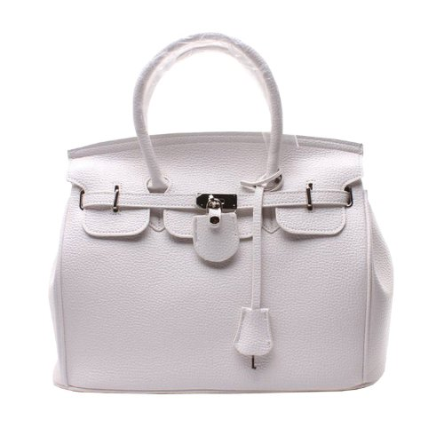 Lady Work Padlock Handbag Strap Pu Student White Satchel Tote Leather Glamour High Hobo Bag Purse Inspired shoulder Designer W Faux Women School Fashion Office Shopper girl Quality Elegant qIOwwHB