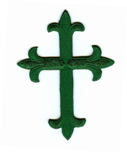 Green Fleur De Lis Iron On Embroidered Religious Cross Patch 4 -