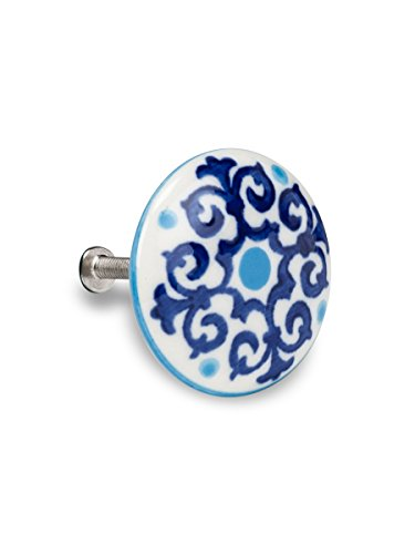 Abbott Collection Turquoise and Cobalt Scroll Drawer Knob