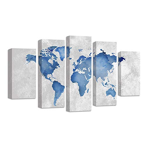 GreatHomeArt Modern Wall Art Set 5 Piece Watercolor World Map Canvas Prints Wall Painting for Bedroom Wall Decor Pictures Framed and Stretched Ready to Hang,Size 100cmX55cm