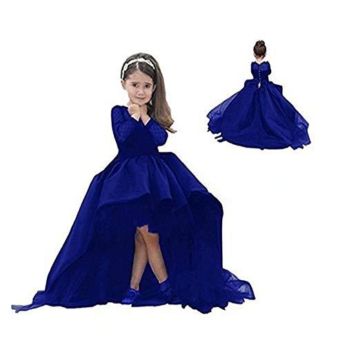 Kalos Dress Shop High Low Long-Sleeves Flower Girl Dress First Communion Dress(Blue 8)