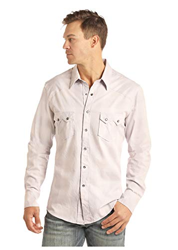 Sawtooth Pockets - Rock and Roll Cowboy Mineral Crinkle Wash Twill Plaid Snaps Shirt, Charcoal, Large