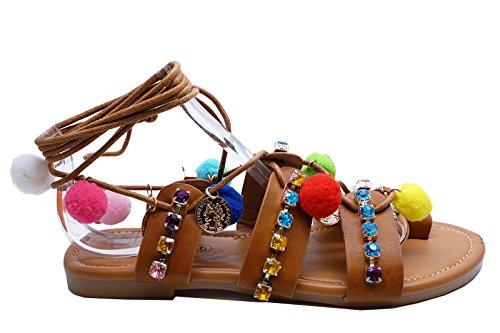 Strand Tan Sko Boho Sommer Tie up 3 Gladiator 8 Størrelse Damer Sandaler Flate Heelzsohigh Festival qwxfHRZ0n