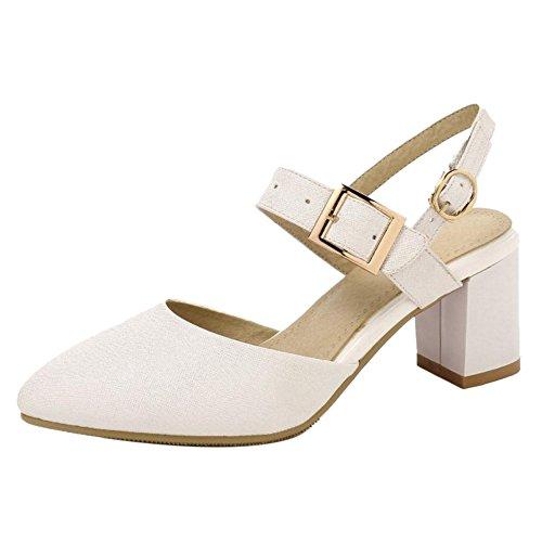 Slingback Sandales Mode JOJONUNU Femmes White ESwq7qP