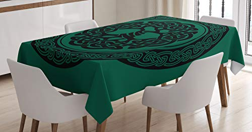 Ambesonne Celtic Tablecloth, Monochrome Tree of Life Illustration with Timeless European Motif, Dining Room Kitchen Rectangular Table Cover, 52