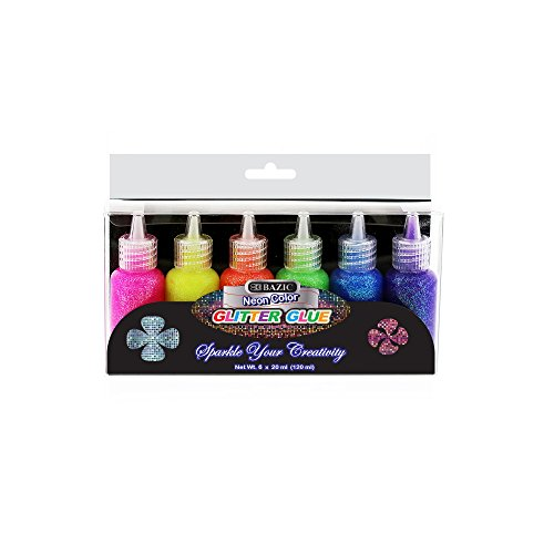Bazic Products 6 Color Glitter Glue Set 20 mL Bottles - Neon Colors - Green, Orange, Pink, Yellow, Blue, & Purple \(2 Units)