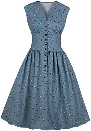 Wellwits Womens Floral Button Vintage