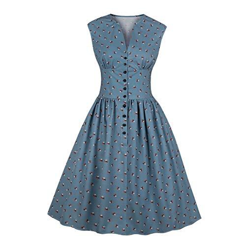 (Wellwits Women's Split Neck Floral Button 1940s Day Vintage Tea Dress Blue)