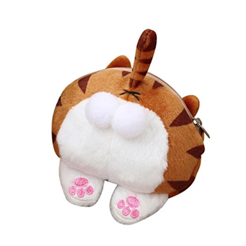 Coin Purse For Women Girls,Toponly Cute Cat Butt Tail Plush Coin Purse Change Purse Bag (fashion Yellow) by Toponly bag