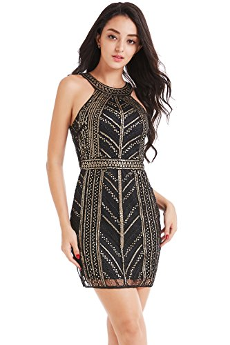 dycon Club Dress Sequined Cocktail Dress Bandage Bodycon Mini Dress (Black & Gold, XL) ()