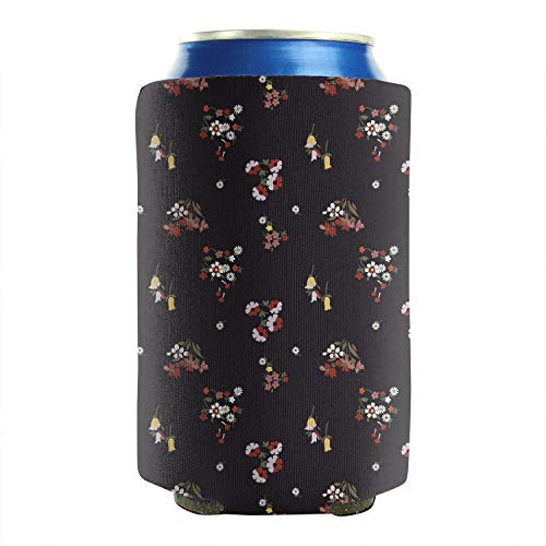 2-Pack Durable Collapsible Fully Stitched Insulated Bottles Holder Neoprene Beverage Coolers Fits 12 Ounce White Small Daisy Red Flower On Black Cold Drink Soda Water Beer Can Sleeve Covers -