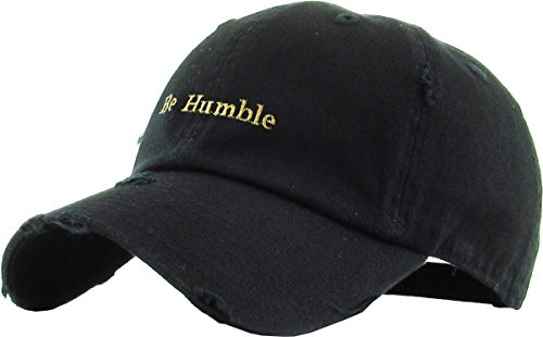 KBSV-078V BLK Be Humble Vintage Distressed Dad Hat Baseball Cap Polo Style Adjustable