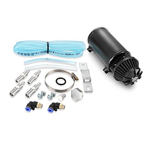 Twilight Garage Black Polished Baffled Aluminum Oil Reservoir Catch Can Tank Kit Breather Filter