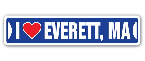 [SignJoker] I LOVE EVERETT, MASSACHUSETTS Street Sign ma city state us wall road décor gift Wall Plaque (City Of Everett Ma)