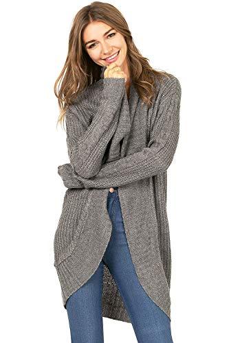 Ambiance Women's Knit Layering Shawl Cardigan (S, Charcoal Grey)