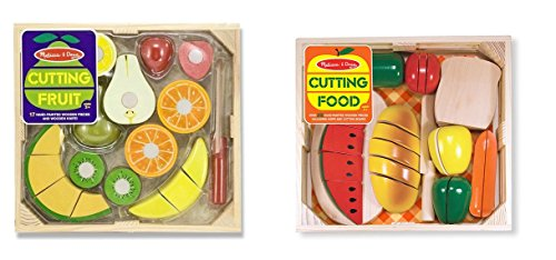 Melissa & Doug Cutting Food - Play Food Set With 25+ Hand-Painted Wooden Pieces, Knife, and Cutting Board With Melissa & Doug Cutting Fruit Set - Wooden Play Food Kitchen Accessory - Doug Wooden Cutting Fruit
