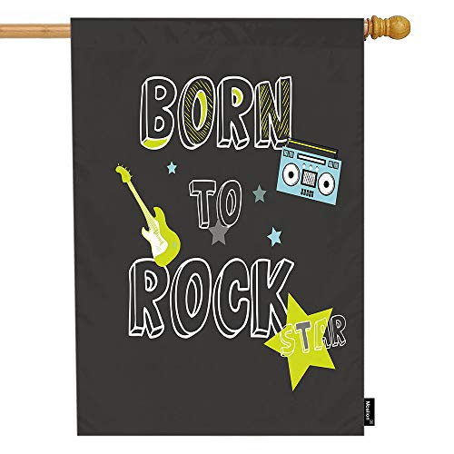 (Moslion Music House Flag Green Guitar Blue Radio Stars Rock N Roll Quote Born to Rock Star Garden Flags 28x40 Inch Double-Sided Banner Welcome Yard Flag Home Outdoor Decor. Lawn)