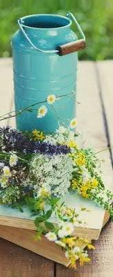 Banner Thema Frühling Sommer Milchkanne Tischdeko