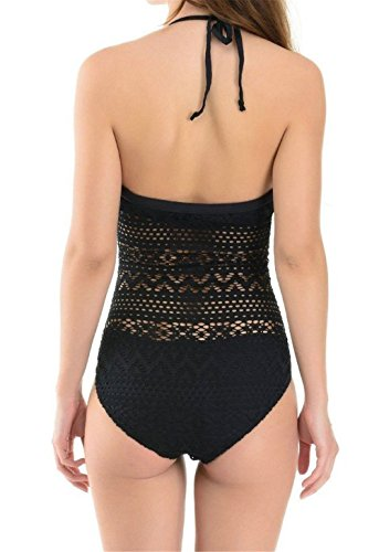 8f6930faf9d Microcosm Retro Vintage Black Crochet Lace One Piece Bathing Suit Swimsuit