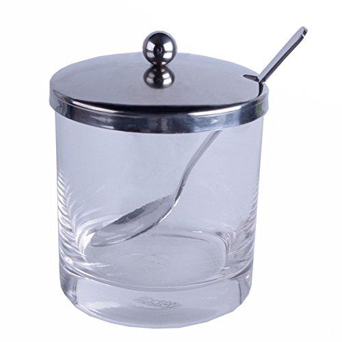 Marmeladen-/Zuckerdose mit Löffel, Glas/Edelstahl