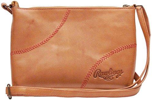Rawlings Women's Baseball Stitch Cross Body Bag, Tan, OS