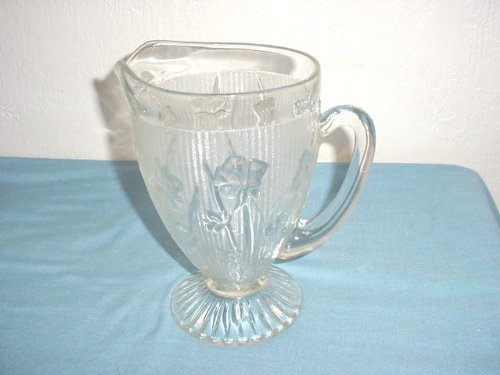 Iris & Herringbone Pitcher by Jeanette Glass Co.