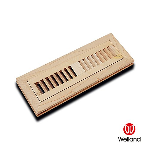 WELLAND 2 Inch x 10 Inch Maple Hardwood Vent Floor Register Flush Mount Unfinished