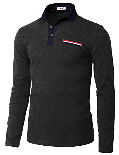H2H Mens Casual Slim Fit Short Sleeve Polo T-Shirts of Various Styles Charcoal US XL/Asia 2XL ()