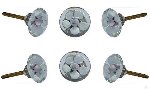 Flower Knob Backplate - Set of 6 Glass Mendip White and Lilac Flower Cabinet Knobs Kitchen Cupboard Door Knob Dressser Wardrobe and Drawer Pull By Trinca-Ferro