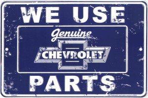 - Chevrolet Parts Tin Sign