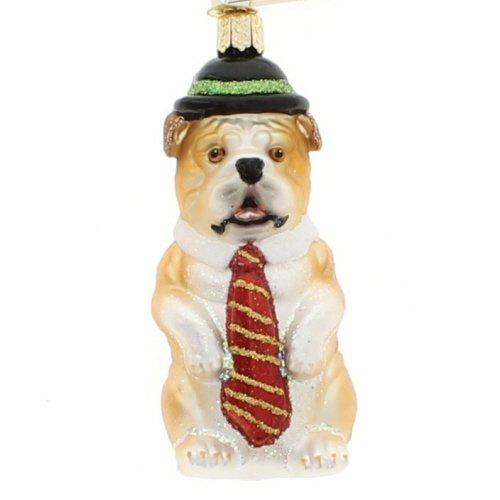 Old World Christmas Mr. Business Bulldog Glass Blown Ornament