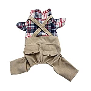 Pet Clothes for Dogs Cat Cute Onesie Dog Costume with Khaki Overalls Pants Jumpsuit Outfits (l)