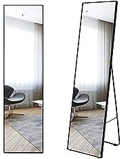 LVSOMT 160 x 40 cm volledige lengte spiegel, wand- en vloerspiegel, staande spiegel, hangende spiegel, volledige lichaamsspiegel, groot en hoog, aluminium legering, ingelijst voor slaapkamer, woonkamer, kleedkamer
