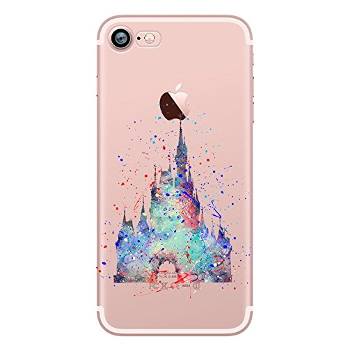 timeless design bf6ab e97bd Watercolour Art Princess Disney Hard Cover Case Fits iPhone 5 5S SE 6 6S 7  (iPhone 7, Disney Castle)