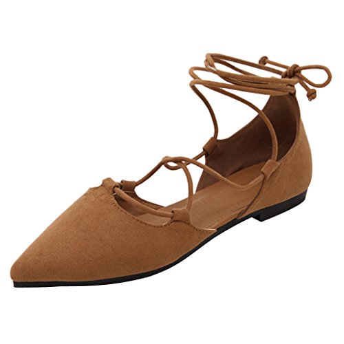 Dear Time Womens Ballet Flats Ankle Strap Shoes Slip On Loafers Plus Size Brown j6B2ZqS