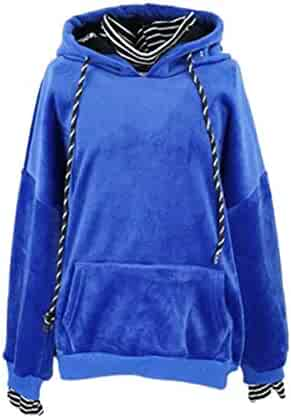 Wofupowga Little Kids Girls Loose Hooded Faux Twinset Velour Pullover Sweatshirts