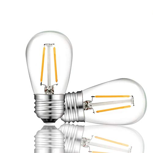 Svater S14 LED String Lights Replacement Bulb E26 Base Warm White 2700K 2W Equivalent 20W Incandescent Bulb Vintage Filament Glass Bulbs 360 Grad Beam Angle Non-Dimmable 2 Pack