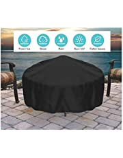 Round Gas fire Pit Cover, Outdoor Garden Heavy Kettle lid Fireplace Cover Grill Cover, Waterproof, Durable Black Furniture Cover (Size : 80 * 80 * 65CM)