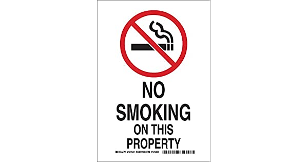 Amazon.com: Brady 123939 no smoking signo, Leyenda