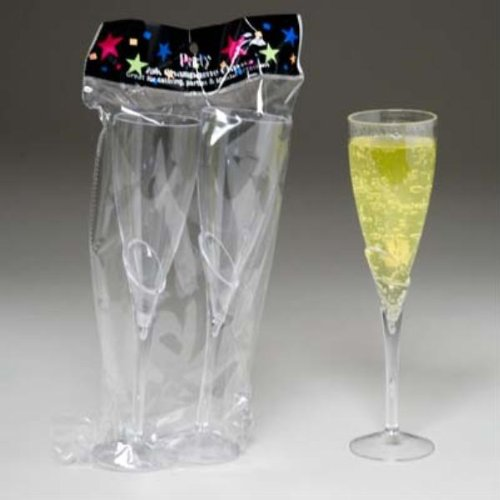 2 Pack Clear Acrylic Champagne Flute Glasses Regent