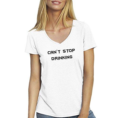 Can t Stop Drinking T-Shirt camiseta Cuello V para la Mujer Blanca