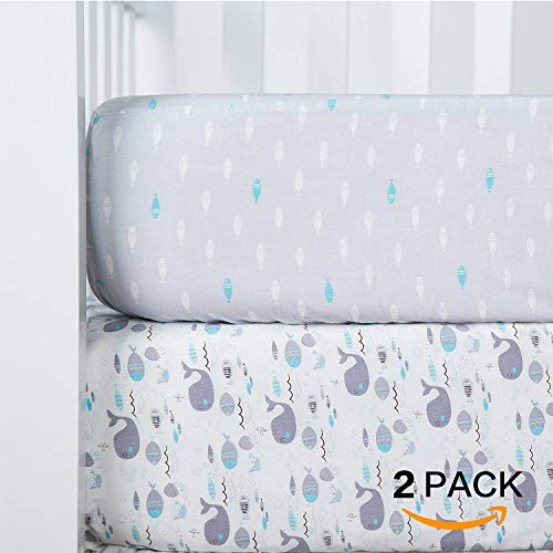 (TILLYOU Printed Crib Sheets Set, 100% Egyptian Cotton Toddler Sheet Set for Baby Boys and Girls, Soft Breathable Hypoallergenic, 28