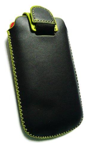Emartbuy® Negro / Verde Pu Del Premio Slide Cuero De La Bolsa / Caja / Manga / Titular (Tamaño Mediano) Con Mecanismo Ficha De Extracción Adecuada Para Samsung Galaxy Young S6310